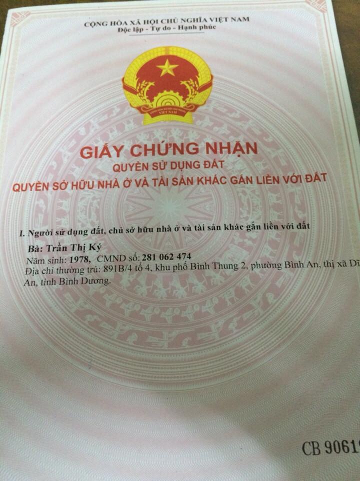 Bán đất Dĩ An gần đường lê văn Tiên 109m2 sổ hồng riêng giá 770 triệu bao sang tên chính chủ bán